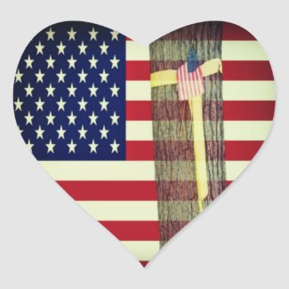 American Flag And Yellow Ribbon Round Tree Gifts At Zazzle