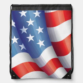 Patriotic American Flag Back Pack Drawstring Bag