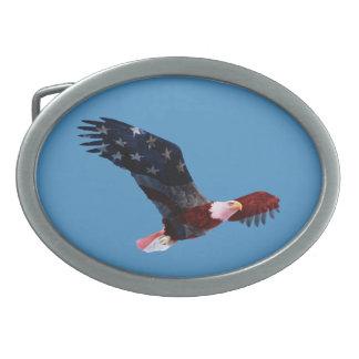 Patriotic American Flag Bald Eagle Belt Buckle