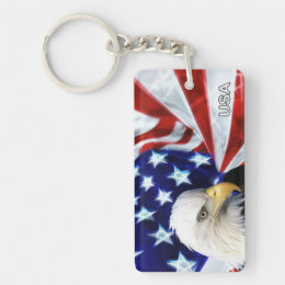 Patriotic American Flag & Bald Eagle Keychain