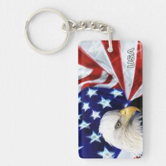 Patriotic American Flag & Bald Eagle Keychain