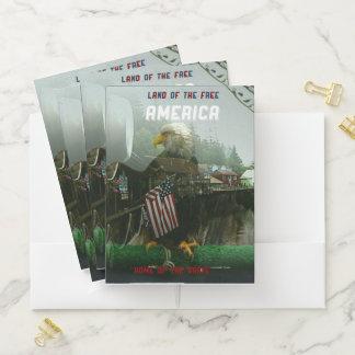 Patriotic American Flag Bald Eagle Overlay Pocket Folder
