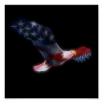 Patriotic American Flag Bald Eagle Poster