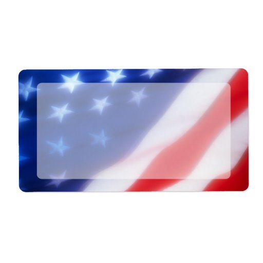 Patriotic American Flag Blank Shipping Label