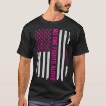 Patriotic American Flag Breast Cancer Awareness T-Shirt