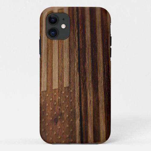 Patriotic American Flag Burned on Old Wood Grain 2 Phone Case