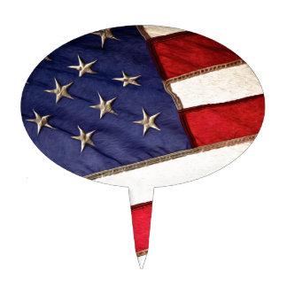 Patriotic American Flag Cake Topper