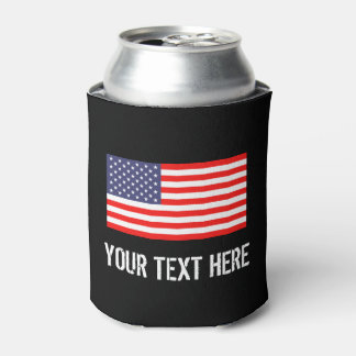 Patriotic American flag can cooler   Personalize