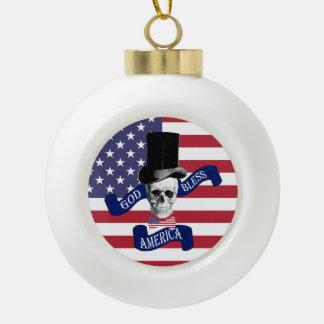 Patriotic American flag Ceramic Ball Christmas Ornament