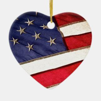 Patriotic American Flag Ceramic Ornament