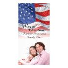 Patriotic American Flag Christmas Photo Card Template