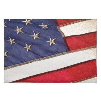 Patriotic American Flag Cloth Placemat