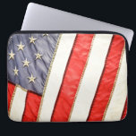 """Patriotic American Flag Computer Sleeve<br><div class=""""desc"""">This patriotic sleeve features a image of a American Flag. This item would make a wonderful holiday gift for him or her. Please feel free to customize the options,  as you wish.</div>"""