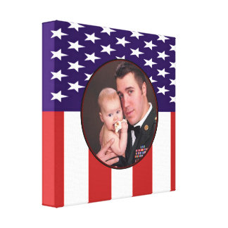 Patriotic American Flag Custom Personalized Photo Canvas Print