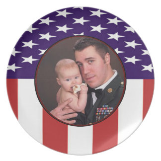Patriotic American Flag Custom Personalized Photo Plate