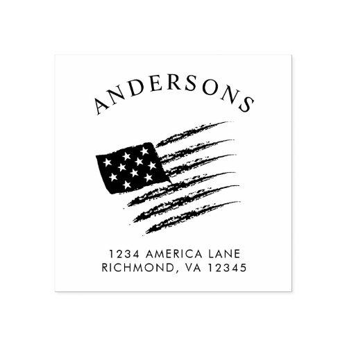 Patriotic American Flag  Custom Return Address Rubber Stamp