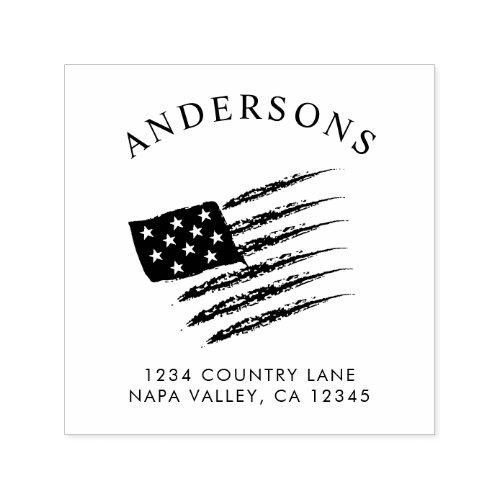 Patriotic American Flag  Custom Return Address Self_inking Stamp