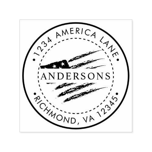 Patriotic American Flag  Custom Return Address Self_inking Stamp