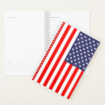 "Patriotic American flag custom spiral planner<br><div class=""desc"">Custom Patriotic American flag weekly monthly spiral planner. Personalized weekly / month agenda book. Make your own cover design. USA pride theme gift idea for friends, family, coworker, boss, colleague, school teacher, company manager etc. Office presents for him or her. US flag of America. STars and stripes design. Also nice...</div>"