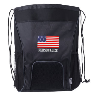 Patriotic American flag drawstring backpack