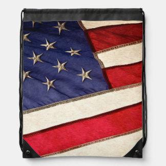 Patriotic American Flag Drawstring Bag