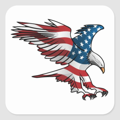 Patriotic American Flag Eagle Square Sticker