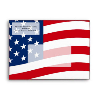 Patriotic American Flag Envelopes, Personalized Envelope