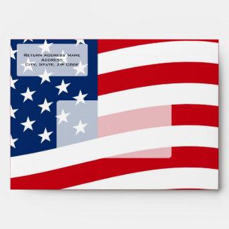 Patriotic American Flag Envelopes, Personalized Envelope