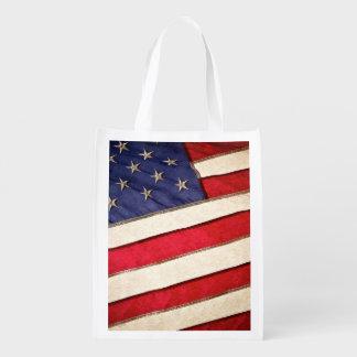Patriotic American Flag Grocery Bag