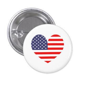 Patriotic American flag heart icon pinback button