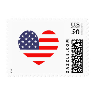 Patriotic American flag heart icon postage stamps