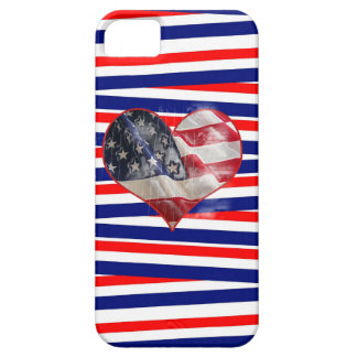 Patriotic American Flag Heart Red White Blue iPhone SE/5/5s Case