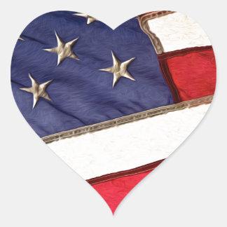 Patriotic American Flag Heart Sticker