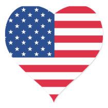 Patriotic American Flag Heart  Stickers