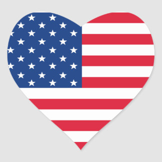 Patriotic American Flag Heart  Stickers