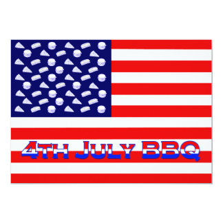 Patriotic American Flag Indepence Day BBQ 5x7 Paper Invitation Card