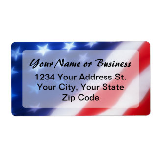 Patriotic American Flag Label Personalized Shipping Labels