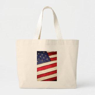 Patriotic American Flag Large Tote Bag