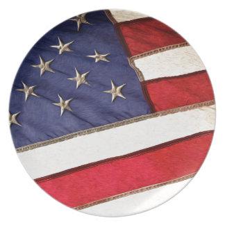Patriotic American Flag Melamine Plate