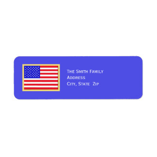 Patriotic American Flag on Blue Return Address Label