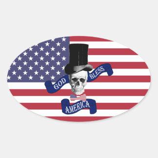 Patriotic American flag Oval Sticker