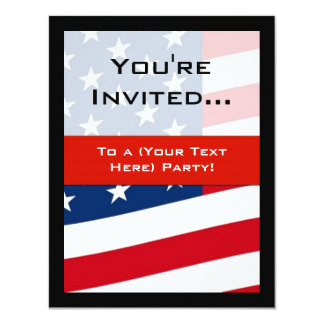 Patriotic American Flag Party Invitations, General Card
