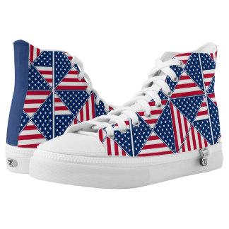 Patriotic American Flag Pattern High-Top Sneakers