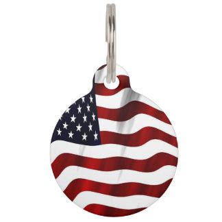 Patriotic American Flag Pattern Pet ID Tag