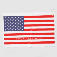 Patriotic American flag personalized golf towel