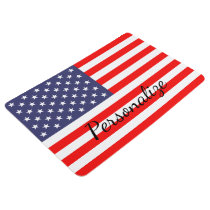 Patriotic American flag personalized USA floor mat