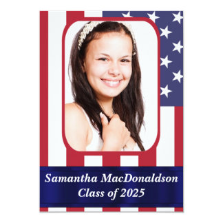 Patriotic American flag photo graduation Card