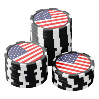 Patriotic American flag poker chips for card game