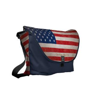 Patriotic American Flag Red White and Blue Bookbag Messenger Bag