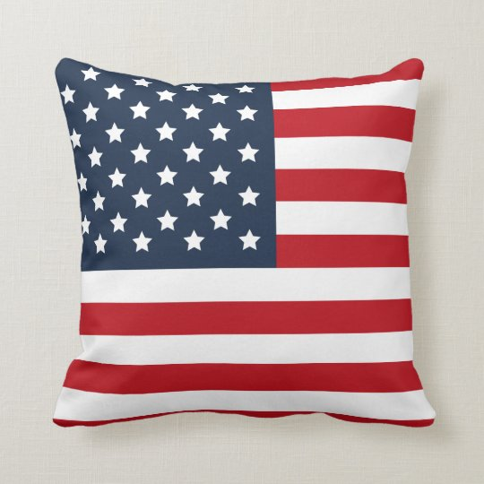 Patriotic American Flag Red White Blue Pillow Zazzle